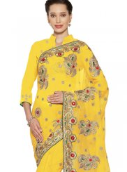 Saree Embroidered Faux Georgette in Yellow