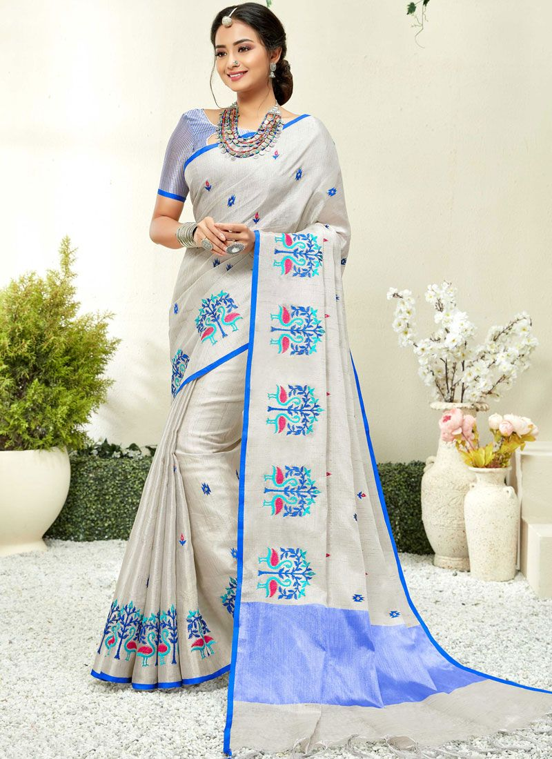 Saree Embroidered Linen in Blue and Grey