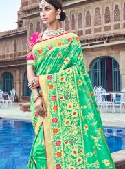Saree Embroidered Silk in Sea Green
