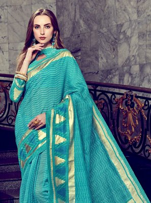Saree Foil print Art Silk in Turquoise
