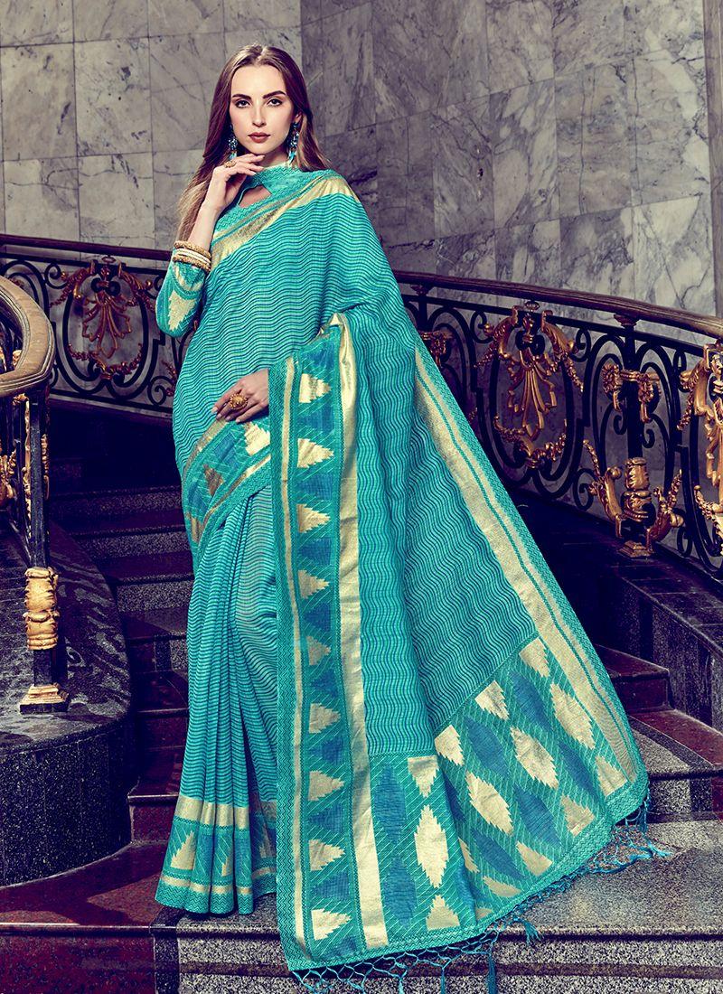 Saree Foil print Art Silk in Turquoise
