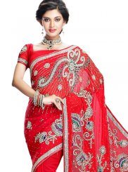 Saree Handwork Faux Chiffon in Red