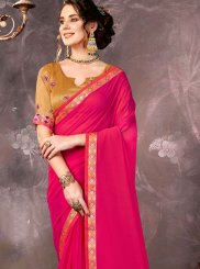 Saree Lace Faux Chiffon in Hot Pink
