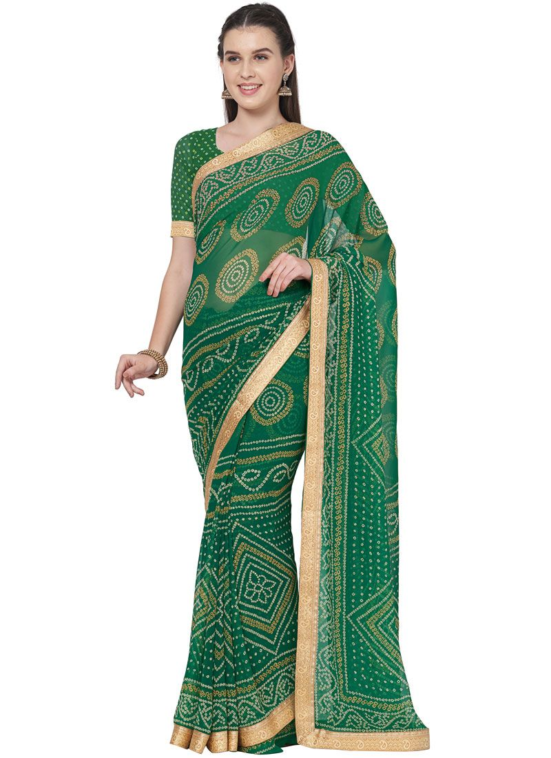 Saree Lace Faux Georgette in Green
