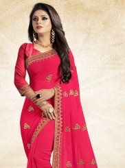 Saree Lace Faux Georgette in Pink