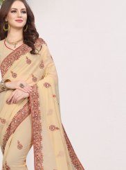 Saree Patch Border Faux Georgette in Beige