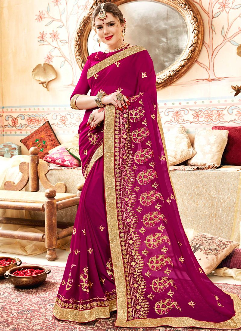 Saree Patch Border Faux Georgette in Rani