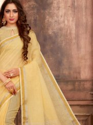 Saree Print Linen in Yellow