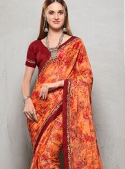 Saree Printed Faux Chiffon in Peach