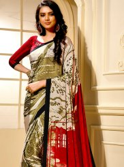 Saree Printed Faux Crepe in Multi Colour
