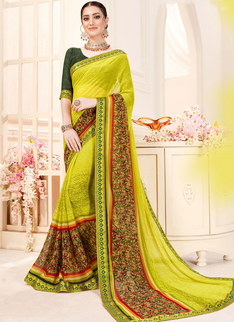 Saree Printed Georgette in Green