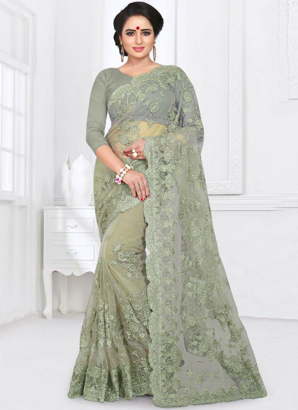 Saree Resham Net in Sea Green