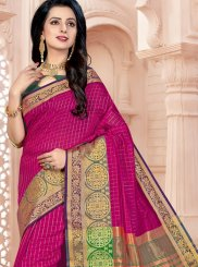 Saree Woven Cotton in Magenta