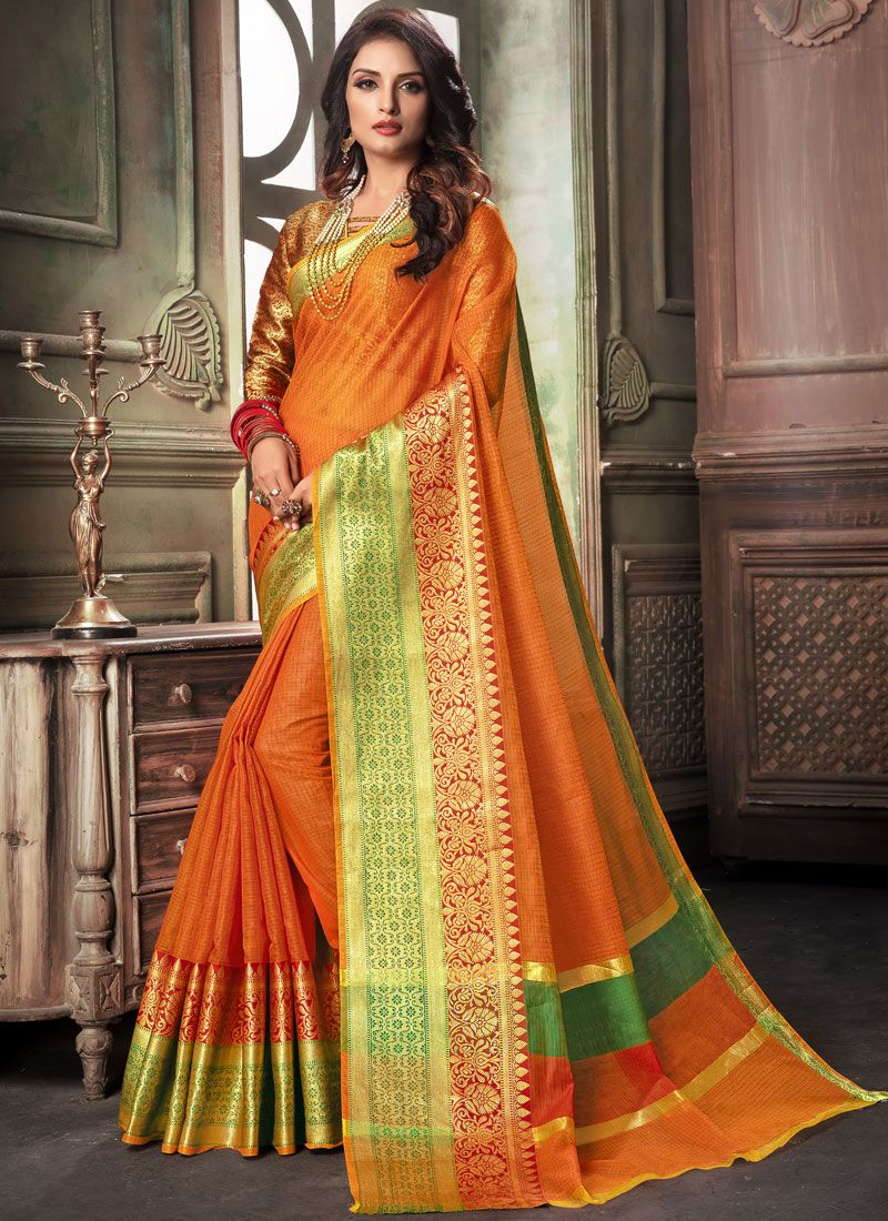 Saree Woven Cotton in Orange