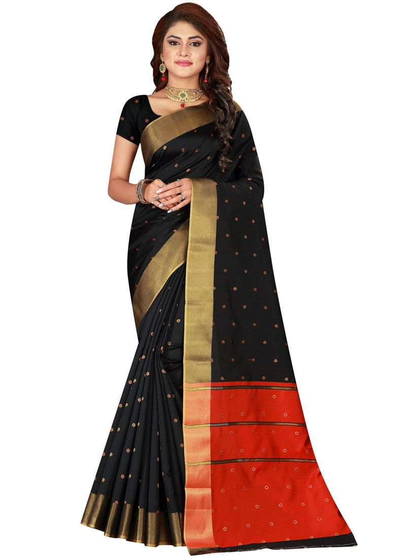Saree Woven Cotton Silk in Black