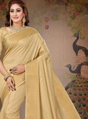 Saree Zari Cotton in Beige