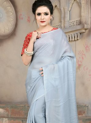 Satin Abstract Print Grey Trendy Saree