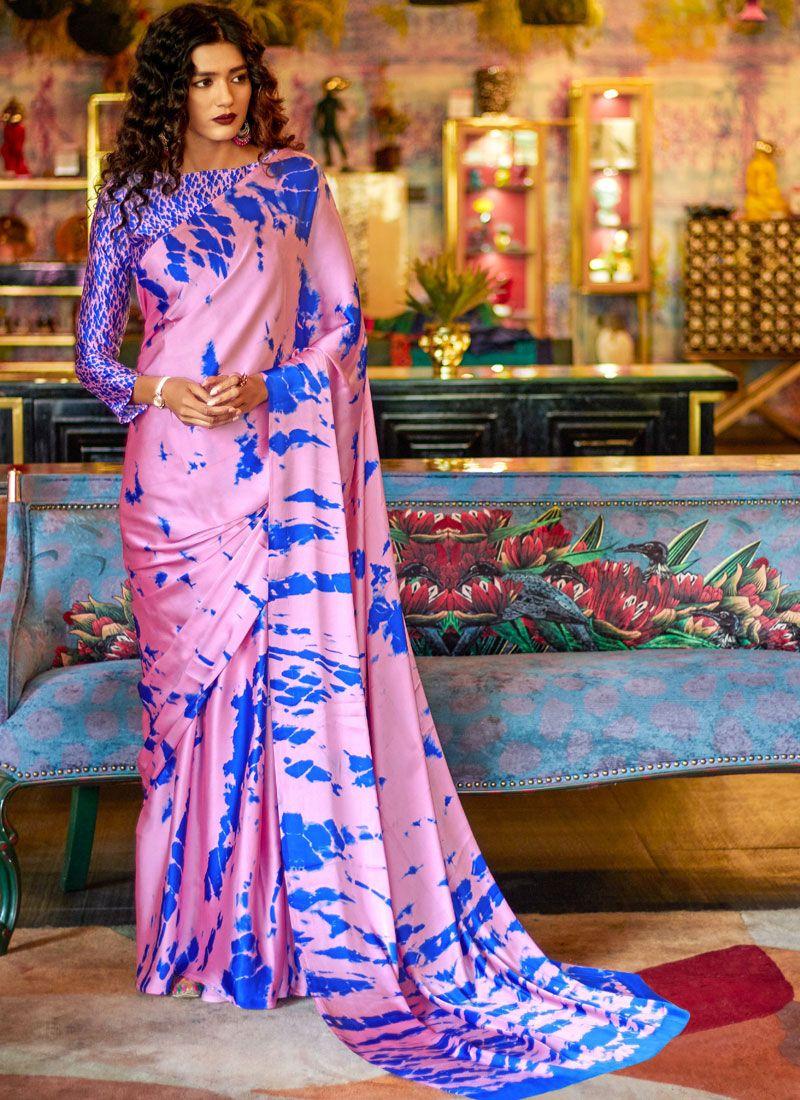 Satin Abstract Print Multi Colour Printed Saree