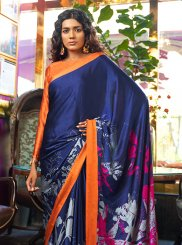 Satin Abstract Print Printed Saree in Multi Colour