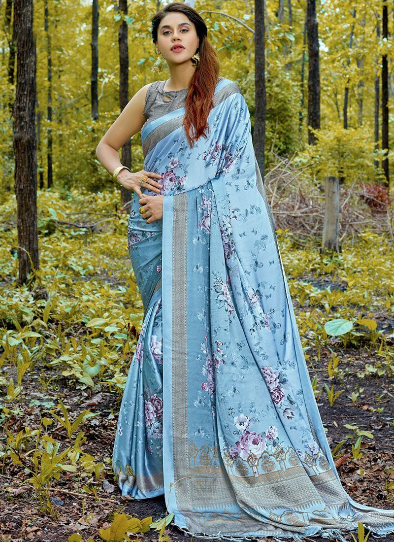 Satin Aqua Blue Casual Saree