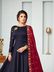Satin Blue Resham Floor Length Anarkali Suit