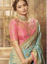 Satin Blue Traditional Saree