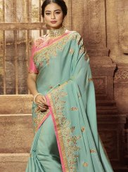 Satin Blue Traditional Saree