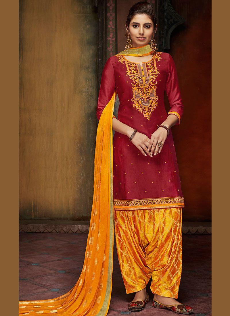 Satin Casual Designer Patiala Salwar Kameez