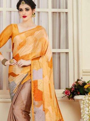 Satin Casual Saree in Multi Colour