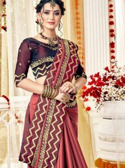 Satin Classic Saree in Rust