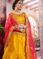 Satin Designer Lehenga Choli in Yellow