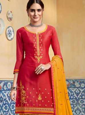 Satin Designer Patiala Suit in Red