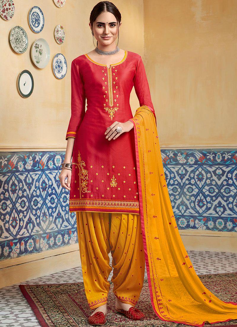 Satin Designer Patiala Suit in Red