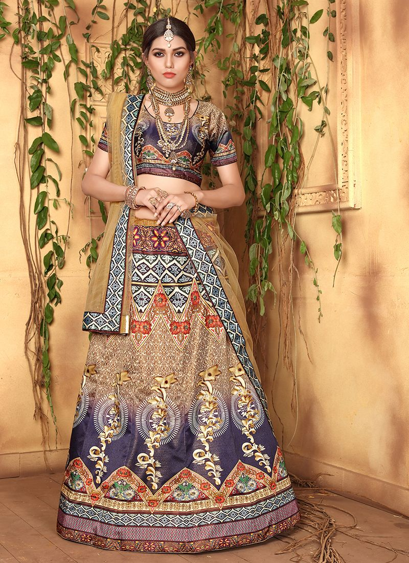 Satin Digital Print Multi Colour Designer Lehenga Choli