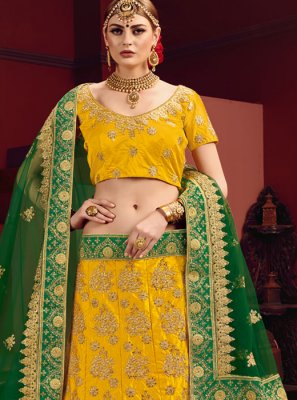 Satin Dori Work Yellow Designer Lehenga Choli