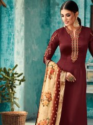 Satin Embroidered Churidar Designer Suit in Brown