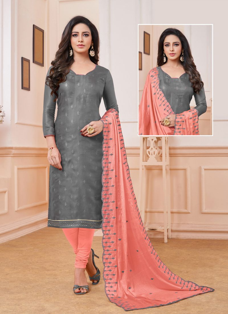Satin Embroidered Churidar Designer Suit in Grey