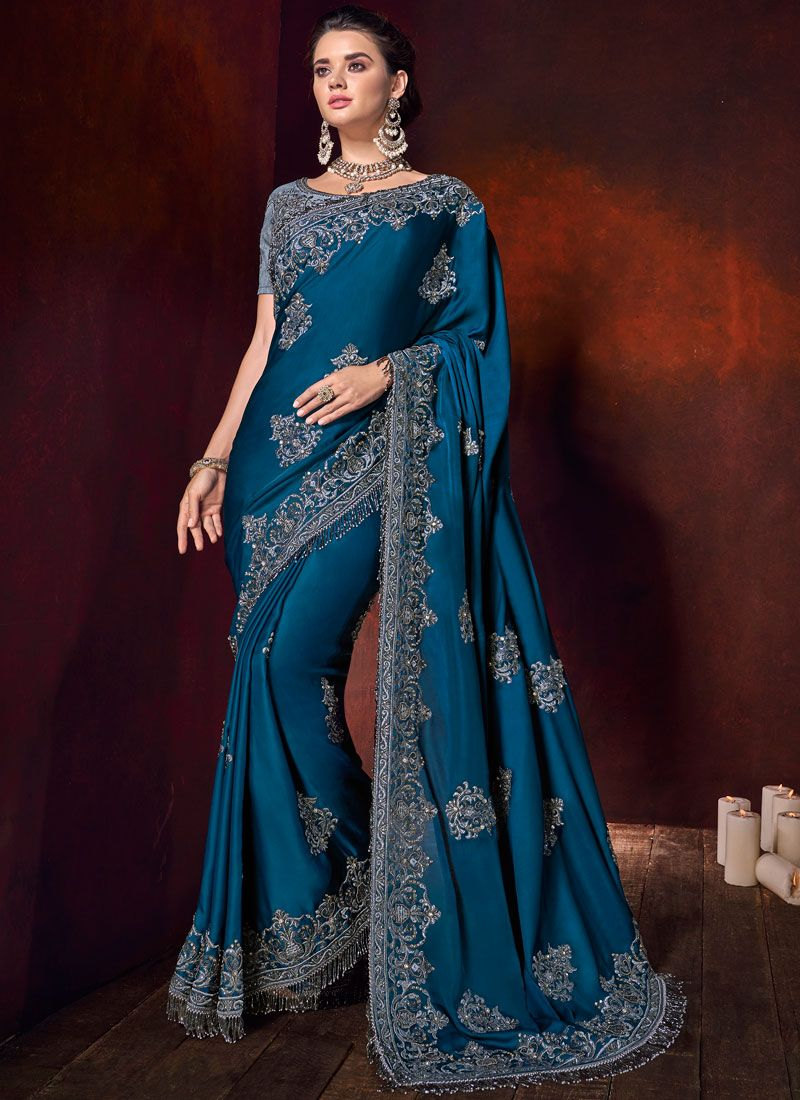 Satin Embroidered Classic Designer Saree in Teal