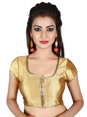 Satin Embroidered Designer Blouse in Gold