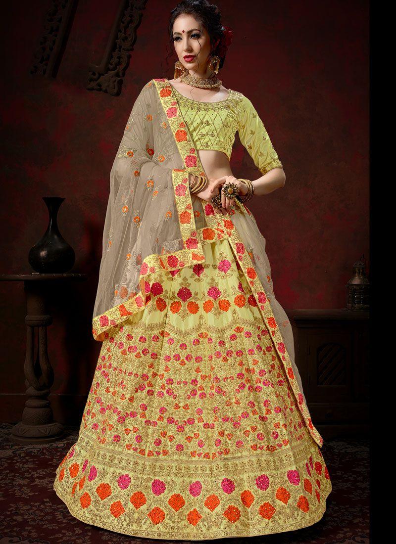Satin Embroidered Designer Lehenga Choli