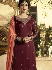 Satin Embroidered Designer Pakistani Suit in Maroon