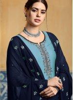 Satin Embroidered Designer Patiala Suit