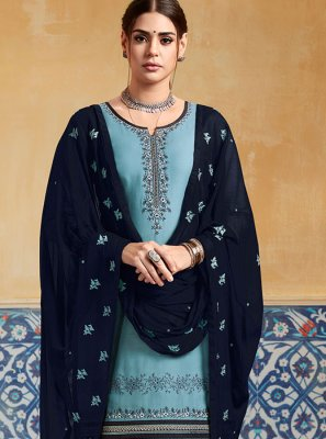 Satin Embroidered Designer Patiala Suit