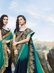 Satin Embroidered Designer Saree in Navy Blue and Sea Green