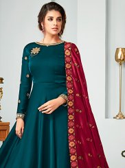 Satin Embroidered Floor Length Anarkali Suit