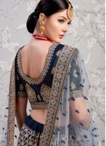 Satin Embroidered Navy Blue Lehenga Choli