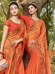 Satin Embroidered Orange Classic Saree
