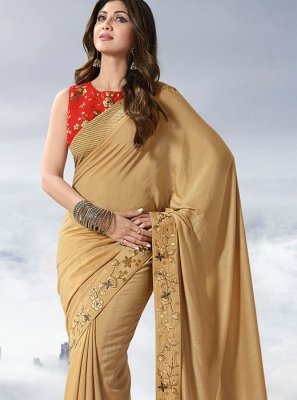 Satin Gold Lace Designer Traditional Saree