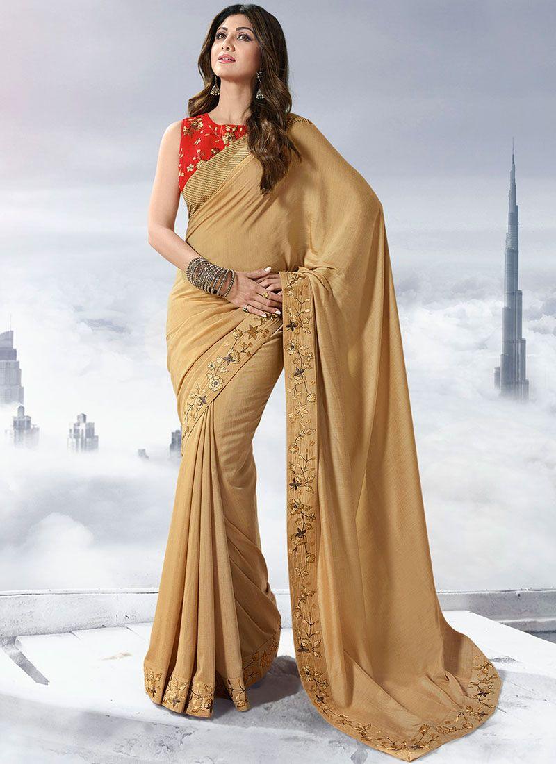 Satin Gold Lace Designer Traditional Saree