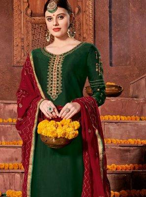 Satin Green Embroidered Churidar Designer Suit